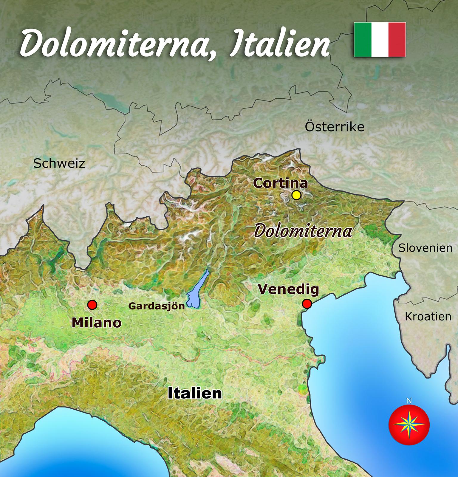 dolomiterna italien karta Cortina   Vandramera   Vandringsresor dolomiterna italien karta