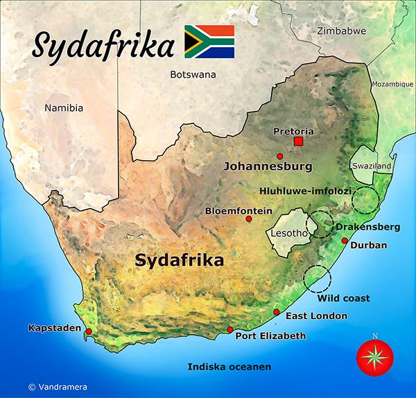 Vandramera Sydafrika Karta