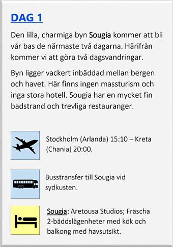 Kreta Dag 1 till Sougia Vandramera - Vandringsresor
