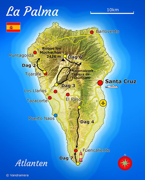 Vandramera La Palma Karta