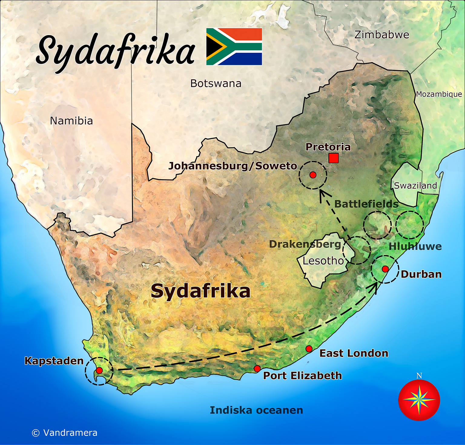 karta sydafrika Sydafrika   Vandramera   Vandringsresor karta sydafrika