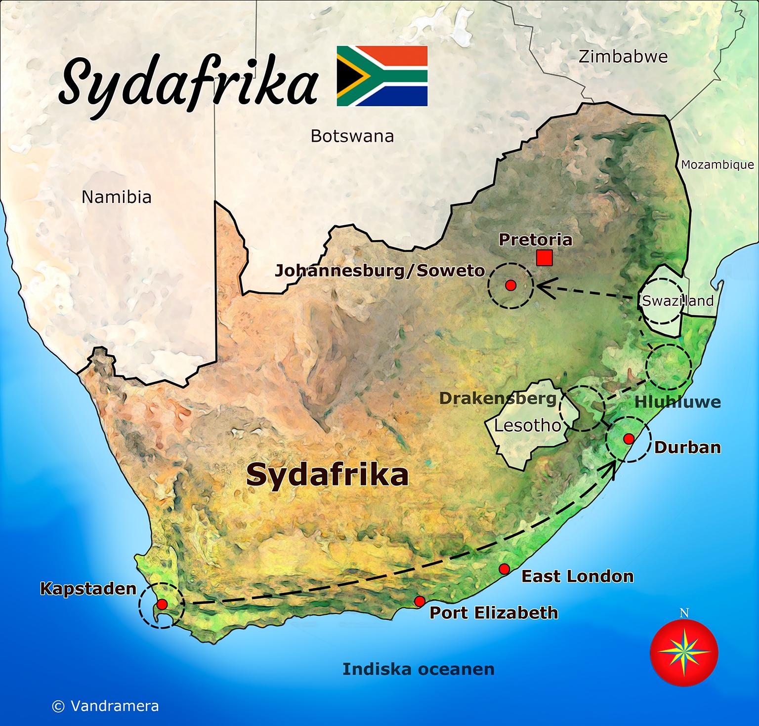 Karta Afrikas Ostkust.Sydafrika Vandramera Vandringsresor