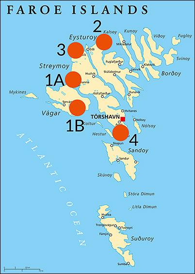 Vandramera Färöarna karta